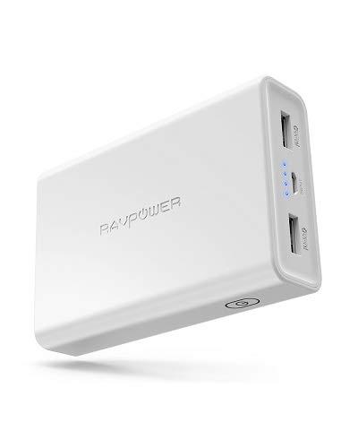 RAVPower 10000mAh Powerbank mit iSmart 2.0 3,4A Output 2 Port Externer Akku Kompatibel mit iPhone 8 / iPhone 8 Plus/iPhone X, iPad, Galaxy S8 / S8 Plus weitere Smartphone, Tablet, Weiß