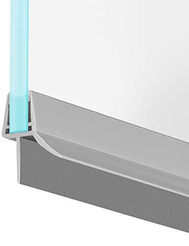 MAALIMA - Duschkabinen Duschwand Duschtür Dichtung grau universal | Duschdichtung für 6mm, 7mm, 8mm Glasdicke | 100cm lange Gummilippe | Duschleiste mit Wasserabweiser an der Dichtung
