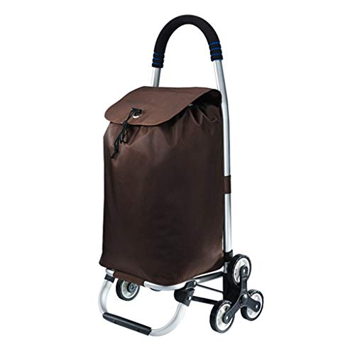 LXCS Portable Domestica Trolley, drogheria Carrello, Piccolo Carrello Pieghevole Carrello, Arrampicata Trolley Trailer - Dimensioni 32x38x91cm (Color : Brown)