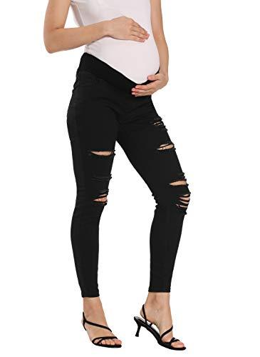 V VOCNI Women's Skinny Maternity Jeans Black_Hole Ripped Knees Slim Jeggings with Under Bump Band Black_Hole,Large