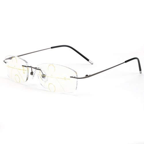 CAOXN Ultraleichter Rahmenlos Lesebrillen Mens Anti Blaues Licht Progressive Multifokale Linsen Gläser Mit Dioptrienvergrößerungs,Gun Color,+2.00