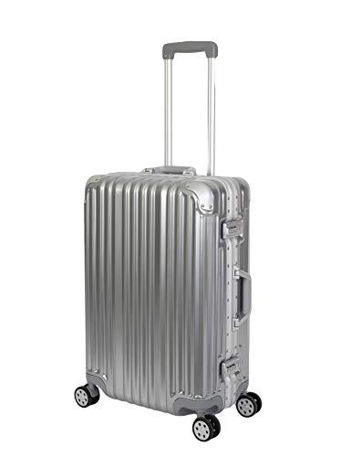 Travelhouse London Koffer Silber M-65cm · Alu-Rahmen · Polycarbonat Hartschale · Reisetrolley Suitecase Trolley · 2X TSA Zahlenschloss · 4 Doppelräder · 360°Rollen · Vol. 67L