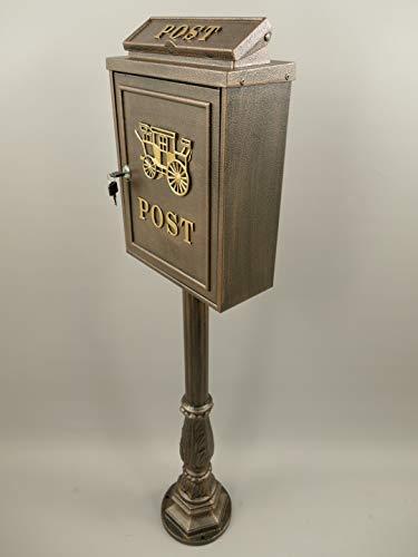 BRIEFKASTEN mit Fuß Ständer braun NOSTALGIE - LOOK Jugendstil Postkasten Letterbox Stehbriefkasten-Pferd Mailbox Letterbox brown Jugendstil - Gründerzeit
