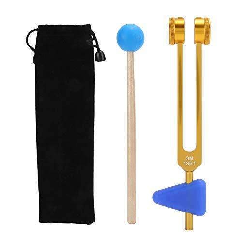 Diapasón, juego de diapasones de aleación de aluminio más seguro y ligero 136.1HZ con martillo para curar para la terapia(Tyrant Golden OM Tuning Fork, blue)