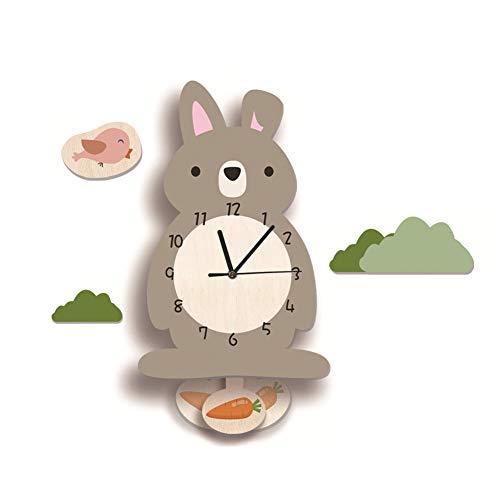 Nicole Knupfer Kinder-Wanduhr, Hase-Wanduhr aus Holz, Uhr ohne Tickgeräusche, Lautlos Uhrwerk, Kinderuhr, Wanddeko für das Kinderzimmer