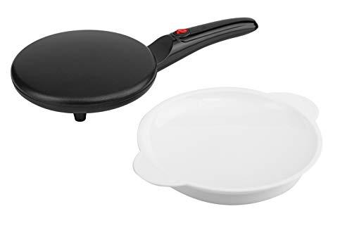 Moos & Stone Electric Crepe Maker With Auto Power Off, Portable Crepe Maker & Non-Stick Dipping Plate, ON/OFF Switch, Nonstick Coating & Automatic Temperature Control, Pan APO, Easy To Use For Pancakes, Blintz, Chapati (Black)
