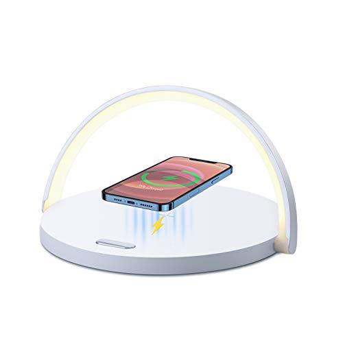 Lampe de Chevet Tactile avec Chargeur Sans Fil, Lampe de Bureau LED avec 3 Niveaux de Luminosié, Lampe de Table avec Chargeur Induction pour iPhone 12/11, Samsung Galaxy S10, Huawei P40 Pro