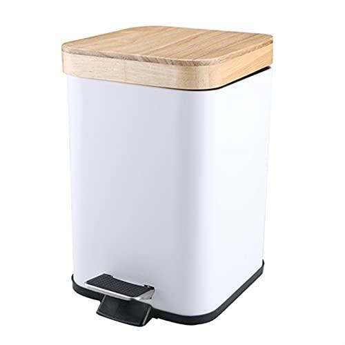 FIJTPSAN Bote de Basura con Tapa con Tapa de Madera Basura de Basura contenedor de residuos Buques (Color : A)