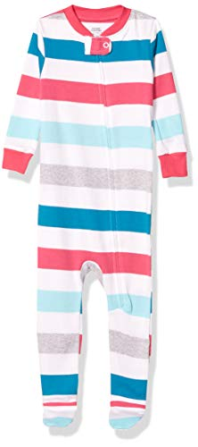 Amazon Essentials Baby Snug-Fit Cotton Footed Sleeper Pajamas, Multi Stripe White, 12 Months