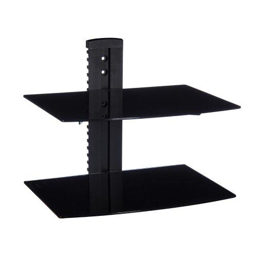 Minify - Supporto per lettori DVD e Bluray, in vetro, per montaggio a parete, colore: Nero