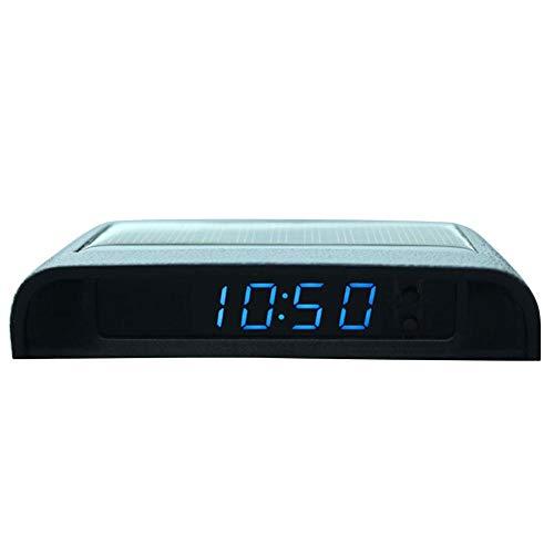 Terynbat - Reloj de coche solar luminoso, reloj electrónico de gama alta, reloj de coche, termómetro, cableado gratuito, inicio con coche