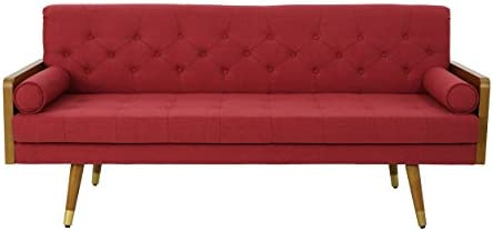 Best Christopher Knight Home Aidan Mid Century Modern Tufted Fabric Sofa, Red