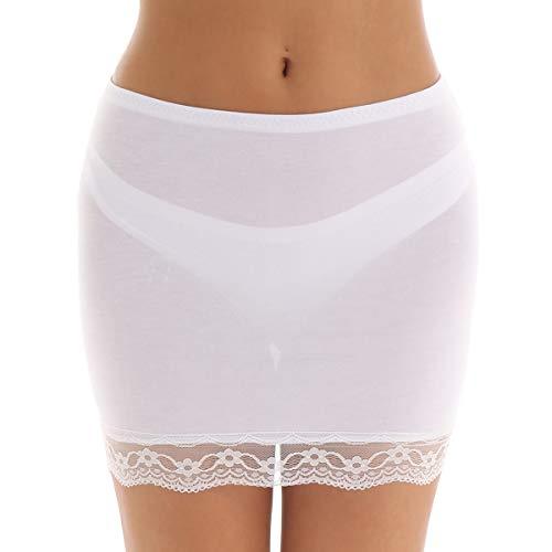 iiniim Enaguas para Vestidos Cortos Mujer Minifalda de Punto Lencería Ropa Interior Falda Corta Encaje Invisible Falda de Seguridad Cintura Elástica Antideslizante Short Underskirt
