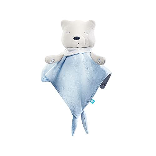 myHummy avec capteur doudou bleu blanc premium   Peluche bruit blanc bébé   Machine à bruit blanc - battement coeur bruit des vagues   my hummy avec capteur de sommeil peluche endormissement bebe