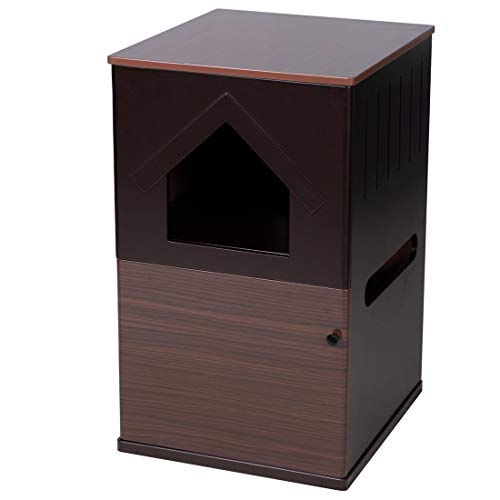 Double-Decker Indoor Pet Crate Washroom 2 Story Hidden Cat Litter Box Furniture Cat House with Table Home Nightstand