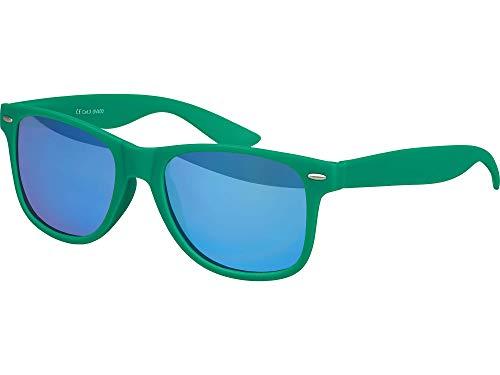 Balinco UV400 gafas de sol originales CAT 3 CE empollón recauchutado en los vidrios unisex de la vendimia estilo retro con bisagras de muelle (verde oscuro - espejo azul)