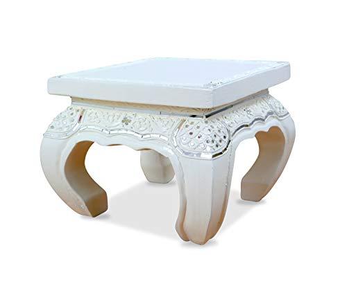livasia Opiumtisch mit Glasmosaikverzierungen, Beistelltisch aus Holz, Nachttisch, asiatischer Hocker, Podest (24x24cm)