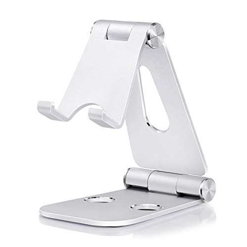 Cell Phone Stand for Desk, Adjustable Phone Stand Cell Phone Holder Desktop Stand Desk Phone Stand for Desk Video Office Aluminum Compatible Phone 12/12 Pro Max, 11 Pro, XR, 8 Plus, Galaxy and More