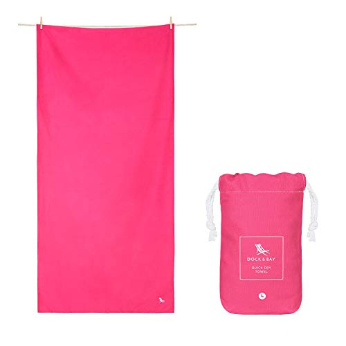 Dock & Bay Compact Towel for Gym Travel - Angel Pink, 100 x 50cm - Gym, Hike & Sports - ultra absorbent travel & backpacking accessory
