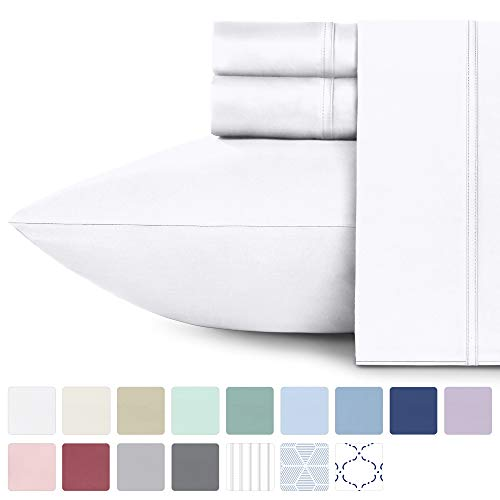 California Design Den 600 Thread Count 100% Cotton Sheets – Pure White Extra Long-Staple Cotton Full Sheets, Fits Mattress 16'' Deep Pocket, Sateen Weave, Soft Cotton 4 Piece Bed Sheets Set