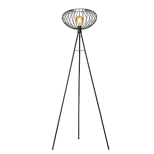 B.K.Licht Lámpara de pie retro con pantalla de 40 cm I interruptor de pie I altura 153 cm I E27 I metal I negro