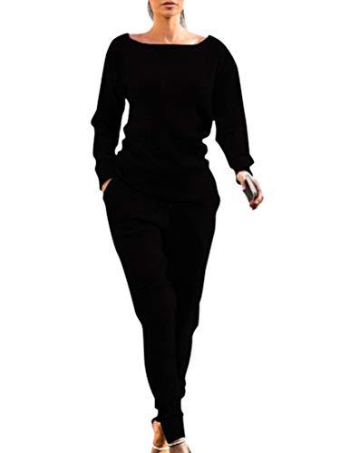 ORANDESIGNE Damen Samt Bekleidungsset Sport Freizeit Pullover Hose Set Frühling 2 Teilig Bauchweg Jacke Freizeithose Einfarbig mit Choker Schwarz DE 42