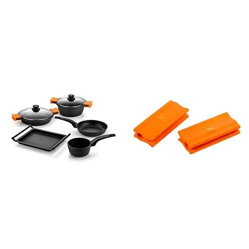BRA Efficient Batería de Cocina, 5 Piezas Antiadherente, Apta para Todo Tipo de cocinas Incluso inducción, Negro y Naranja + Salvamanteles, Silicona, Naranja, 2 Unidades