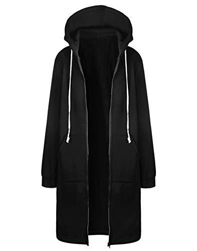 Hifanmall Damen Strickjacke Casual Mantel Hoodie Zipper Hoodies Sweatjacke Langer Manteljacke Oversized Coat Outwear Kapuzenpullover, Schwarz, 46,3XL