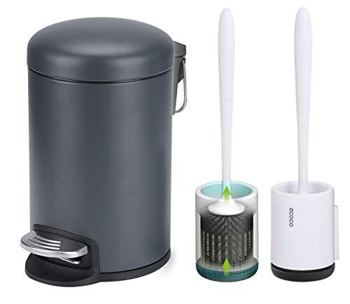 Papelera Redonda con escobillas de Silicona para Inodoro, Mini Pedal de 3 l con Tapas para baño, Dormitorio, Cocina