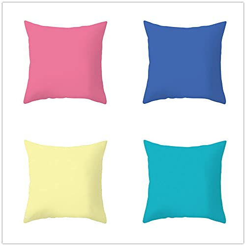 Funda Cojin 35x35cm Juego de 4 Fundas Cojines Cojines Sofa Throw Pillow Case Cojines Decorativos Lino de Algodón Azul Amarillo Funda de Almohada para Cojín para Sofá, Cama Hogar, Coche,Interior
