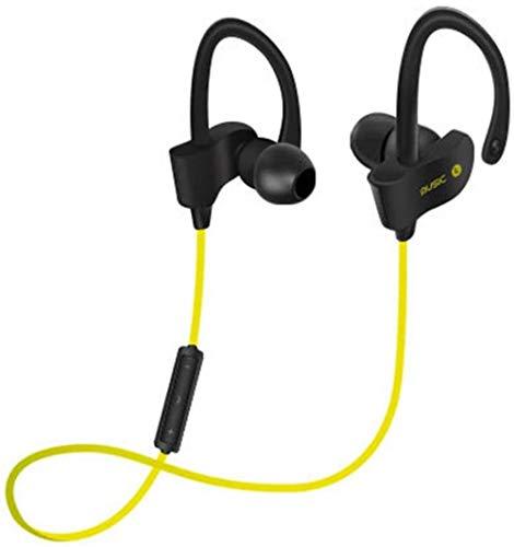 Woodtree Auricular Bluetooth, Resistente al Agua IPX7, en la Oreja los Deportes HD Super Bass Auriculares De baño de cancelación de Ruido Inteligente de Encendido con Mic, Amarillo