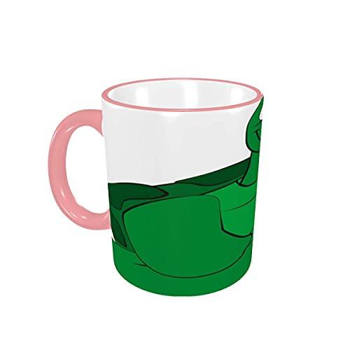 Taza de café Tazas de café de Animales Verdes Tortuga amigable con Dibujos Animados Tazas de cerámica con Asas para Bebidas Calientes - Capuchino, té, Cacao, Regalos, 12 oz Yellow