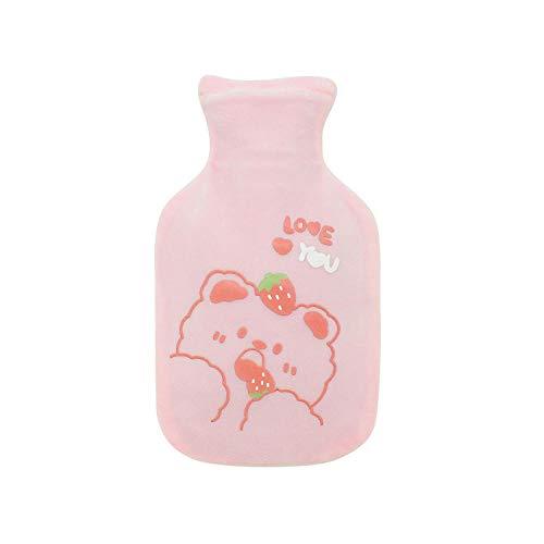 Iniezione di acqua peluche bottiglia di acqua calda cartone animato in gomma antideflagrante scaldamani orso simpatico panno per irrigazione-Orsetto rosa piccolo da 350 ml