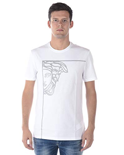 Versace Collection Men's Cotton Angle Medusa Graphic T-Shirt White