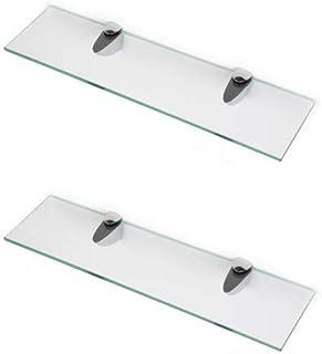 400mm x 150mm BSM Marketing soporta 600 mm 500 mm y 400 mm Estantes de cristal endurecido de 6 mm de grosor con gran acabado cromado