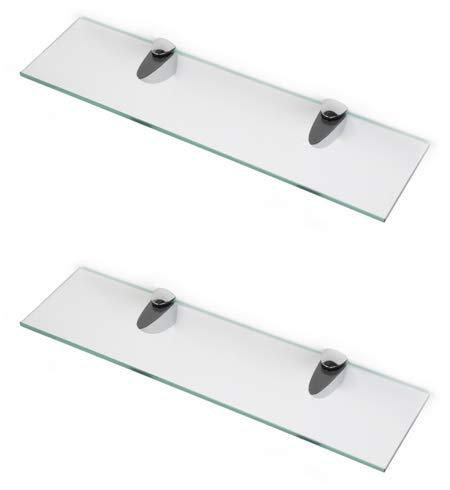 BSM Marketing Estantes de cristal endurecido de 6 mm de grosor con gran estante de acabado cromado que soporta 600 mm, 500 mm y 400 mm (2, 600 mm x 100 mm)