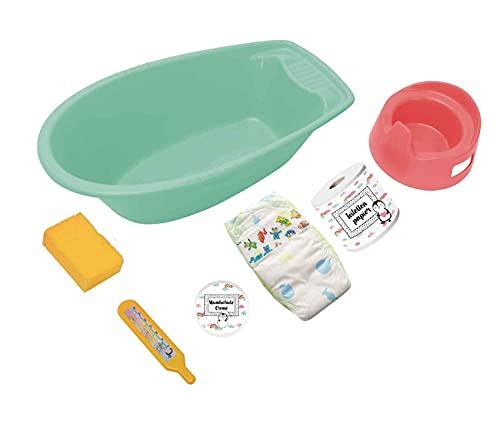 Heless- Bañera de 7 Piezas Accesorios, Color Menta, para divertirse en el baño y Aseo de Las muñecas, Verde (911)