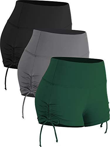 Cadmus Athletic Booty Shorts for Women 3 Pack High Waisted Workout Pro,1021,Black,Grey,Dark Green,X-Small