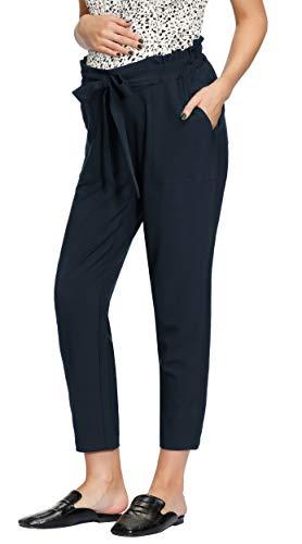 Damen Umstandshose mit Rüschen, elastische Taille, legere Hose mit Gürtel, verziert - Blau - XX-Large
