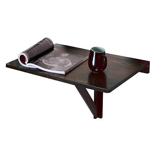 Living Office/eenvoudige opbergtafel massief hout muur Mount Laptop Stand Bureau Computer Stand opvouwbaar tegen de muur tafel eettafel, 2 kleuren (kleur: donkere koffie kleur, Grootte : 60x40x32CM)