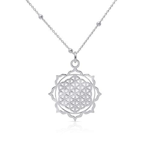 WANDA PLATA, Blume des Lebens Halskette für Damen, Anhänger mit Kette aus 925er Sterlingsilber, Energie-Symbol silber