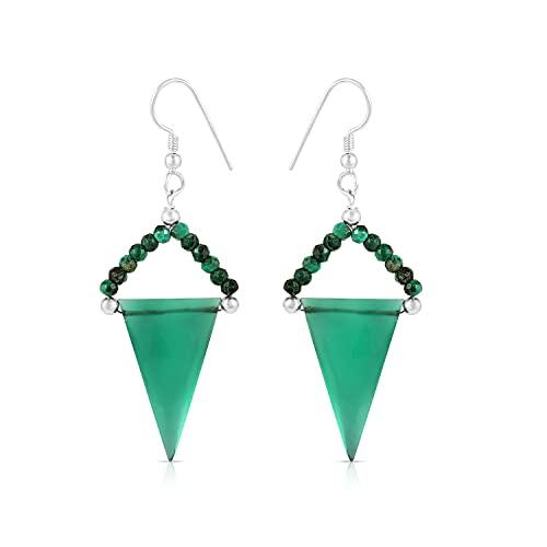 Gemshiner - Pendiente de gancho con forma de tringle elegante de ónix verde y malaquita en plata de ley 925 para mujeres y niñas, regalo perfecto para ella