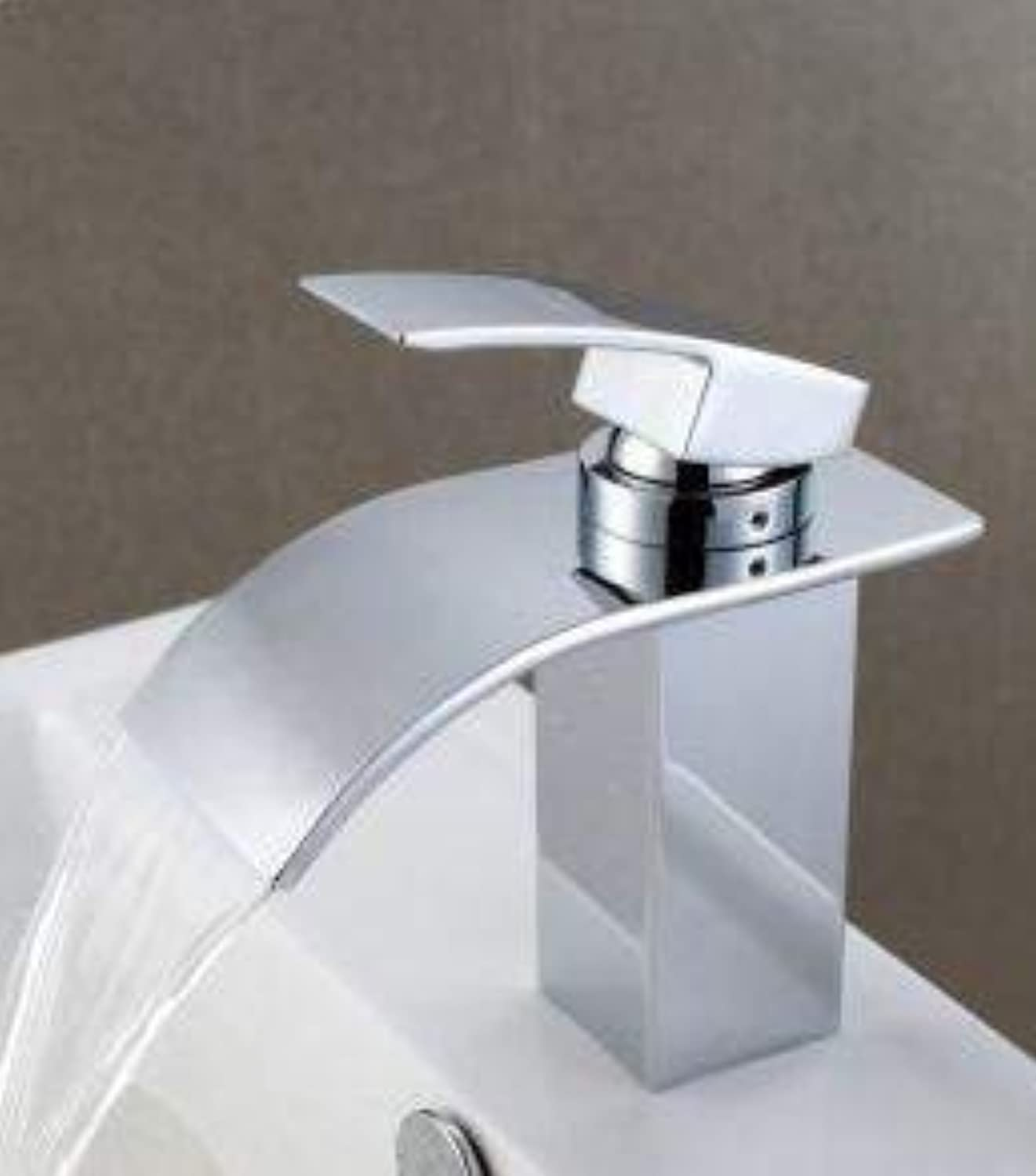 Oudan Ceramic Valve Core-Well Brass Hot and Cold Water Bathroom Basin Mixer Tap with Chromium (color   -, Size   -)