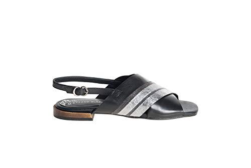 PEDRO MIRALLES Sandalias de mujer Nature negro 14012 con tiras cruzadas y fondo de cuero Size: 37 EU