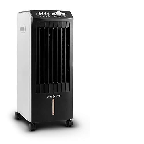 oneConcept MCH-1 V2-3-in-1 Luftkühler Ventilator Luftbefeuchter 7 Liter 360 m³/h 65 W, 3 Leistungsstufen, Oszillation, drei Windgeschwindigkeiten, Bodenrollen, 2 austauschbare Kühlakkus, schwarz