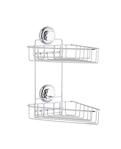 Compactor Bestlock succión Doble Esquina Estante, Chrome 24H | Suction Cup : TPU and Abs, Acero Cromado