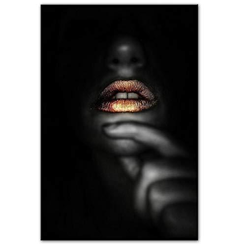 Nativeemie Sexy Mujer Negra Labios Dorados Lienzo Pintura Carteles de Pared e Impresiones niña Africana Cuadros de Pared decoración de la Pared del hogar 30x40cm / 11.8'x15.7 sin Marco