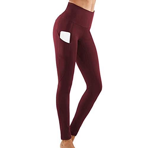 Women\'s Slim-Fit Sports Leggings Long Opaque Leggings High-Waisted Tights Abdominal Control Yoga Fitness Trousers for Running Cycling or Fitness Trousers with Pockets XL