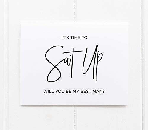 Suit Up Will You Be My Best Man, Wedding Proposal Card for Bridal Party, From Bride and Groom