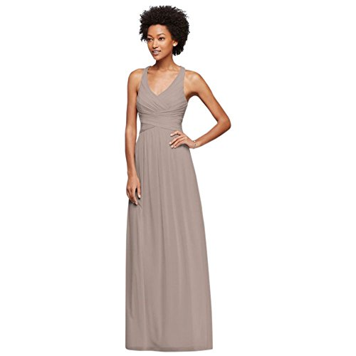 Mesh Long Bridesmaid Dress with Crisscross Back Style W10974, Biscotti, 4